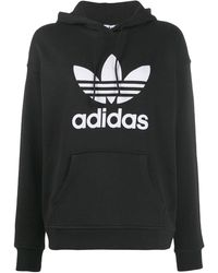 adidas ロゴプリント パーカー - ブラック