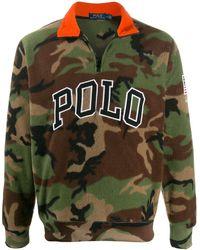 Polo Ralph Lauren Jersey con media cremallera y motivo militar - Verde