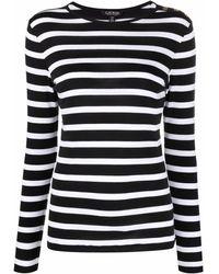 Lauren by Ralph Lauren ストライプ Tシャツ - ブラック