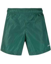 Off-White c/o Virgil Abloh Logo Print Swim Shorts - Green