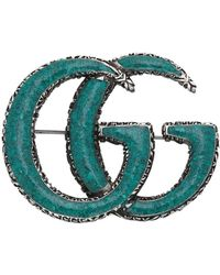 Gucci - Ge�mailleerde Dubbele G-broche - Lyst