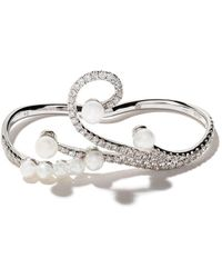 AS29 18kt White Gold Lucy Pearl And Diamond Two-finger Ring - Metallic