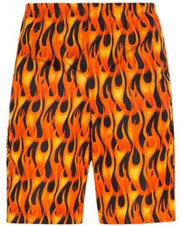 Palm Angels Flames Print Swimshorts - Orange