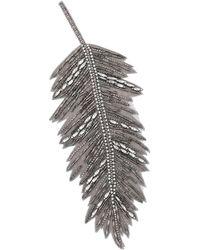 Haider Ackermann Crystal Leaf Lapel Pin - Gray