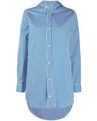 Plan C Полосатая Рубашка С Капюшоном - Синий