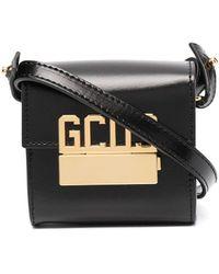 Gcds ロゴ レザーショルダーバッグ - ブラック