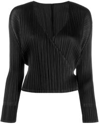 Pleats Please Issey Miyake V-neck Wrap Top - Black