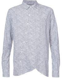 Private Stock Off-centre Button Placket Striped Shirt - Grijs