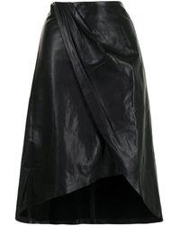 IRO レザー Aラインスカート - ブラック