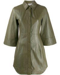 Ganni Lamb leather short sleeves mini dress with front buttons - Verde