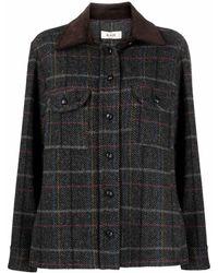 Blazé Milano Tweed Wool Shirt Jacket - Black