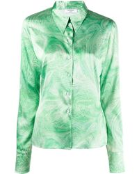 Opening Ceremony Marble-print Pointed-collar Shirt - Green