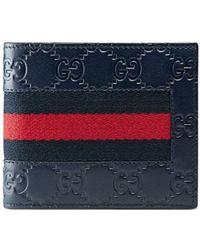 Gucci Signature Web Wallet - Blauw
