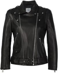 Anine Bing クロップドライダースジャケット - ブラック