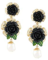 Dolce & Gabbana - Floral Embellished Drop Earrings - Lyst