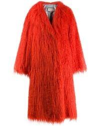 Gucci Faux Fur shaggy Coat - Orange