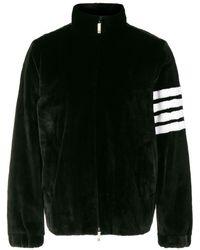 Thom Browne 4-bar Intarsia Dyed Fur Jacket - Zwart