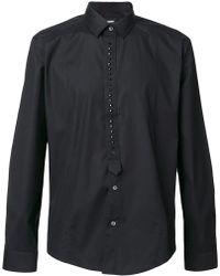 Les Hommes Studded Placket Shirt - Black