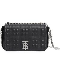 Burberry Small Crystal Detail Quilted Check Lambskin Lola Bag - Черный