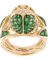 Aurelie Bidermann 'scarab' Tsavorite And Diamond Ring - Metallic