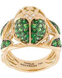 Aurelie Bidermann 18kt 'Scarab' Gelbgoldring mit Diamanten und Tsavoriten - Mettallic