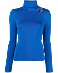 Y. Project Tulle-detail Roll-neck Jumper - Blue