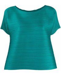 Pleats Please Issey Miyake Blusa con maniche strutturata - Verde