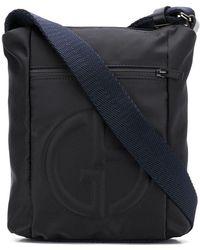 Giorgio Armani Logo Embossed Messenger Bag - Black
