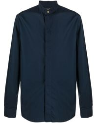 Giorgio Armani Cotton Mandarin Collar Shirt - Blue