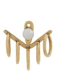 Yvonne Léon Hoop Pearl Stud Earrings - Metallic