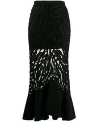 David Koma Sheer Fishtail-hem Skirt - Black