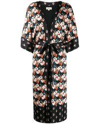 Temperley London Kimono En Satin Imprimé Dragonfly - Noir
