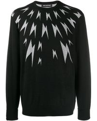 Neil Barrett Meteorites Lightning Print Sweatshirt - Black