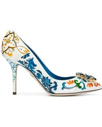 Dolce & Gabbana Majolica-print Bellucci Court Shoes - White