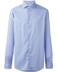 Fashion Clinic - Micro-checked Curved Hem Shirt - Lyst