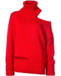 Monse One Shoulder Knit Jumper - Red