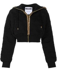 Moschino Chain-trimmed Cropped Hoodie - Black