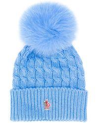 e9203a930 Pom-pom Cable Knit Hat - Blue