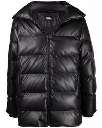 Karl Lagerfeld Embroidered-logo Padded Coat - Black