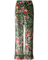 F.R.S For Restless Sleepers Velvet Floral Trousers - Groen