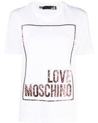 Love Moschino グリッターロゴ Tシャツ - ホワイト