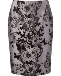 Martha Medeiros Butterfly Jacquard Skirt - Gray