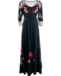 Temperley London Embroidered Tulle Gown - Blue