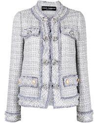 Dolce & Gabbana - ボタン ツイードジャケット - Lyst