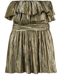 Saint Laurent Metallic Ruffle Cocktail Dress - Металлик