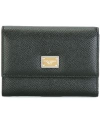 Dolce & Gabbana Dauphine Leather Flap Wallet - Black