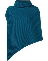 Pringle of Scotland Ribbed Knit Poncho - Blue