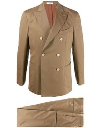 Boglioli Double-breasted Pleat Detail Suit - Natural
