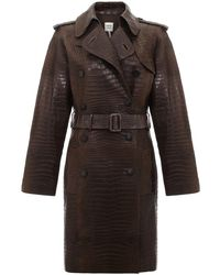 Hermès Manteau à taille ceinturée pre-owned - Marron