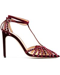 Giannico Starry Eve Embellished Pumps - Red